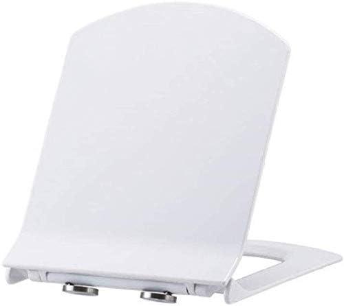 トイレ蓋便座、スローダウン尿素ホルムアルデヒド樹脂付きスクエア便座、浴室と洗面所用のステンレスベースと超耐性、ホワイト44〜46 * 35.5cm