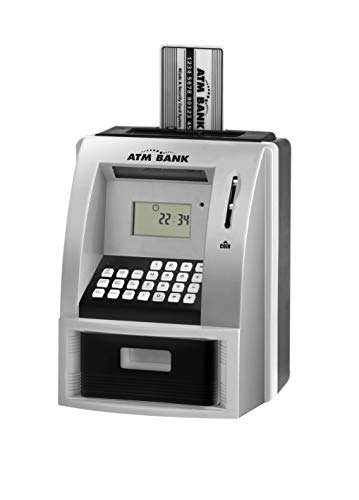 LIKE Toy Talking ATM Bank ATM Machine Savings Bank for Kids –Works a Real one- Deposit, Withdraw, Debit Card, Saving Target, Timer and Clock ()
