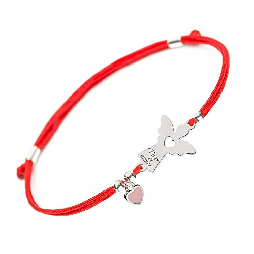 (Praying Guardian Angel Protective Bracelet - Silver Charm Lucky Christian Believe Hope Christening Baptism Handmade Evil Eye Protection String Red Rope Bracelets for Women Girls Boy Baby (wings))