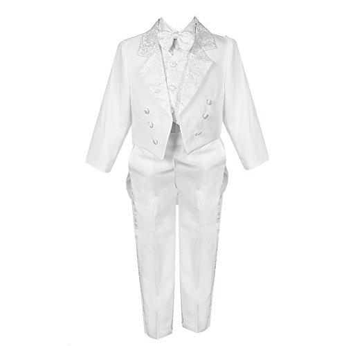 Big Boys White 5 Piece Classic Vest Pants Tail Jacket Jacquard Tuxedo Suit (Collection Suit Jacket)