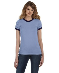 Bella Ladies Heathered Ringer T - HEATHER BLUE/NAVY - (Heather Blue Ringer)