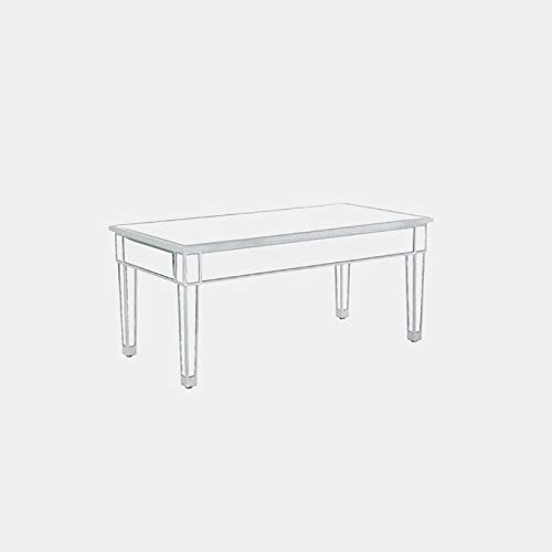 Wood Coffee Table with Mirrored Top - Coffee Table with Hand Painted Finish - Antique Silver