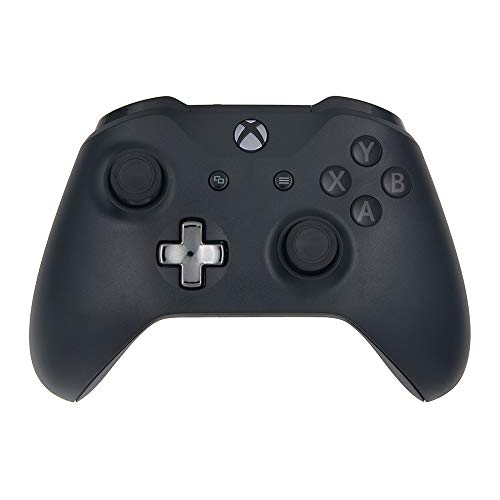 Black Custom Wireless Controller Compatible Xbox One Console - Textured Grip - 3.5mm Headset Jack - Chrome Steel Black D-pad - Grey on Black ABXY ()