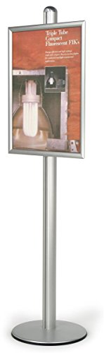 Adjustable Aluminum Sign Stand for 22 x 28-Inch Posters, Free-Standing, Snap-Open Frame with Non-Glare Lens by Displays2go