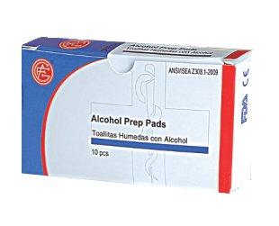 Genuine First Aid Alcohol Prep Pads, 10/Box