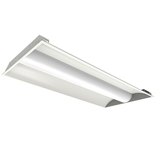 2x4 Premium Performance LED Center Basket Troffer Ceiling Light, 40 Watt, 4,845 Lumens, 3000 Kelvin Warm White Color, 0-10 vdc DIMMABLE, UL & DLC Listed, 5 Year Warranty (Performance Basket)