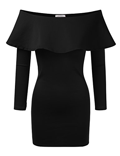 Doublju Flounce Off-the-shoulder Bodycon Mini Dress (Made In USA / Plus size available) BLACK MEDIUM