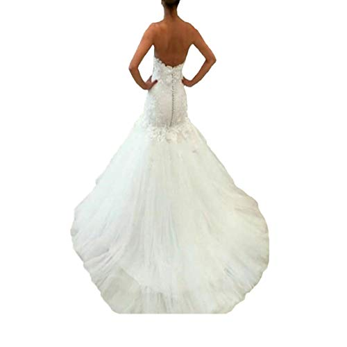 DingDingMail Women's Beaded Sweetheart Mermaid Wedding Dress 2019 Sexy Backless Lace Bridal Gowns Long Ivory ()