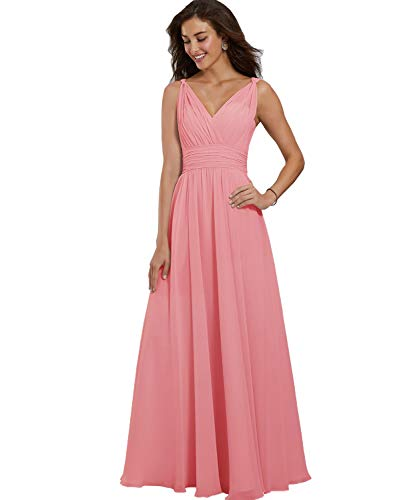 Yilis Women's Sexy Floor Length A Line Double V Neck Chiffon Prom Dress Long Elegant Evening Party Dress Coral US14