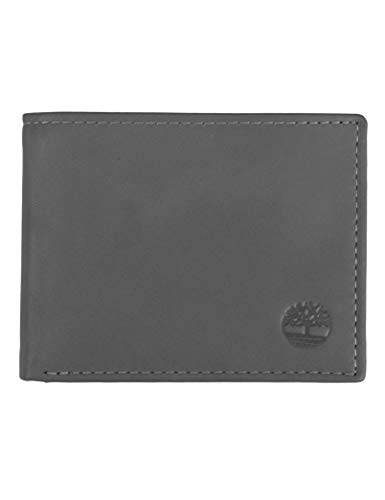 Timberland Men's Leather Wallet with Attached Flip Pocket, Charcoal (Cloudy), One Size (Timberland Smart)