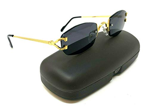 Savant Slim Rimless Geometric/Oval Luxury Sunglasses (Gold Metallic Frame w/Black Ear Pieces & Case, Black) (Gold Luxury Sunglasses)