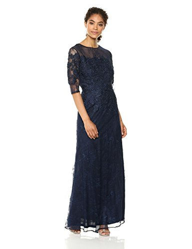 Emma Street Women's Long Lace Gown with Illusion Neckline, Navy, 6