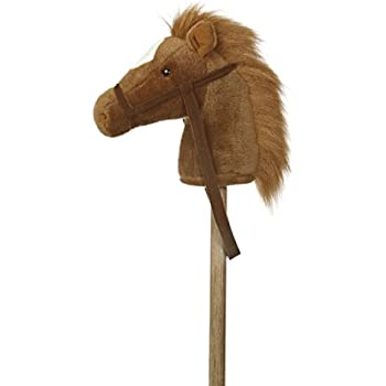 """Aurora World World Giddy-Up Stick Horse 37"""" Plush, Brown"""
