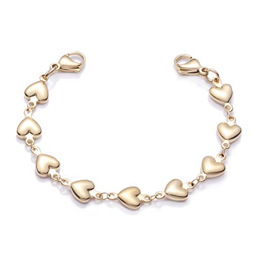 linnalove Gold Heart Link Interchangeable Medical Alert Bracelet (55)