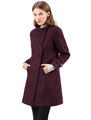Allegra K Women's Stand Collar Double Breasted Slant Pockets Trendy Outwear Winter Coat XS Burgundy -