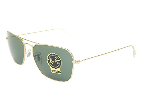 New Ray Ban Caravan RB3136 001 Gold/Green Classic G-15 58mm ()