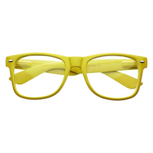 Retro Horned Rim Retro Classic Nerd Glasses Clear Lens (Yellow, - Glasses Nerd Purple