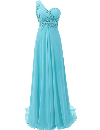 JAEDEN Mujer Un Hombro Vestido de Baile Largo Gasa Vestido de Noche Vestido de la Dama de Honor Azul