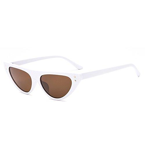 146mm Vi retro pequeñas negro sol triángulo del Marco Negro de sol size rojo UV400 de Mujeres de Mujeres gato Blanco yo ojo Gafas del Gafas rx6UrwB