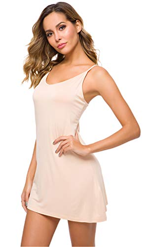 WiWi Women's Bamboo Full Slip Under Adjustable Spaghetti Strap Cami Mini Dress Basic Camisole Slip Dress S-4XL, Beige, 3X-Large