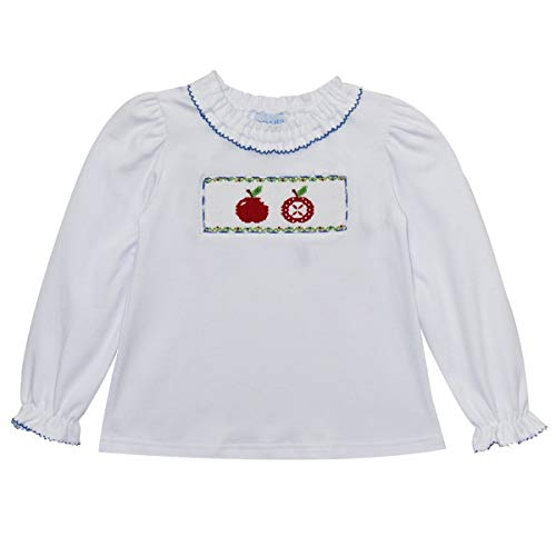 (Apples Smocked Girls Knit Ruffle Blouse LS)