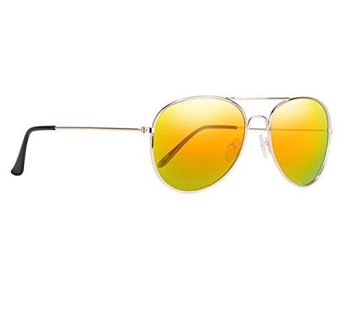 Classic Gold Metal Aviator Sunglasses with Orange Polarized Lenses & UV Protection - the Desperado by ()