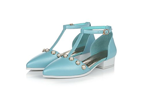 Sandals and Low Solid Womens T Heels with Pointed AllhqFashion Blue Wrist Closed Toe Strap Strap qPTp0w