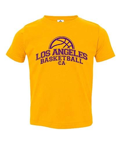 Sheki Apparel Basketball Fans Los Angeles Town Pride Little Kids Unisex Boys Girls Toddler T-Shirt (Gold,3T) ()