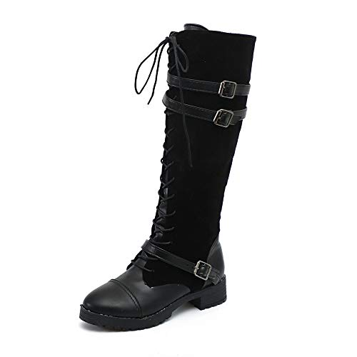 Fire And Safety Shoes, Womens Winter Faux Fur Lining Combat Shoes, Flock Roman Riding Knee High Cowboy Martin Long Boots, Above Knee Ankle Fancy Across Black After Hours Black 7.5