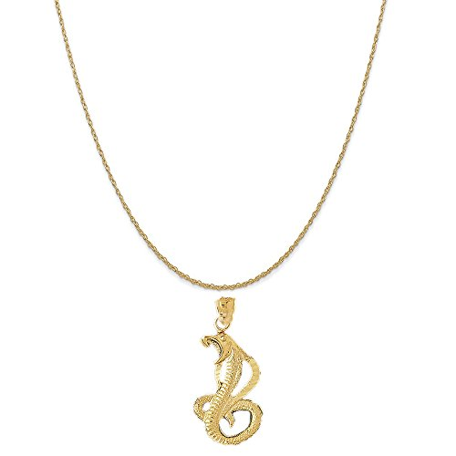 Cobra Gold Chain (14k Yellow Gold Cobra Pendant on a 14K Yellow Gold Rope Chain Necklace, 18
