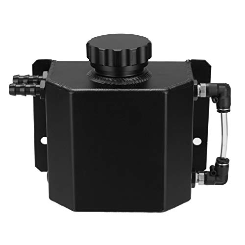 HerrosV Universal 1L Alloy Aluminium Engine Oil Fuel Gas Catch Can Breather Tank Bottle Coolant Radiator Overflow Tank