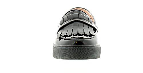 NEU Damen / Damen schwarz Lack Slipper Stil Slipper Schuhe - schwarz - UK Größen 3-9