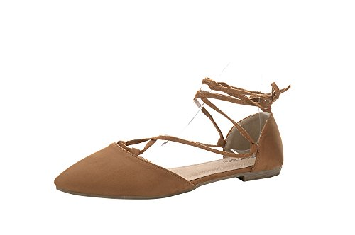 Mila Lady Womens Faux Suede Pointed Toe Ankle Strap Lace up Flats Shoes, Laura Camel 5.5