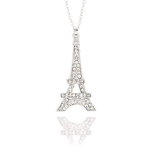 JIN Big necklace Korean version of the big goddess Eiffel Tower necklace fashion trend necklace, silver Pendant Necklace For ()