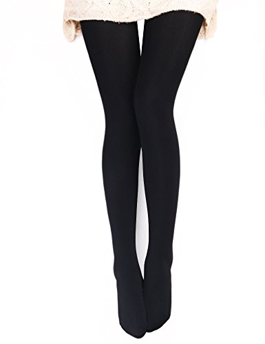 (VERO MONTE 1 Pair Womens Opaque Warm Fleece Lined Tights (BLACK))