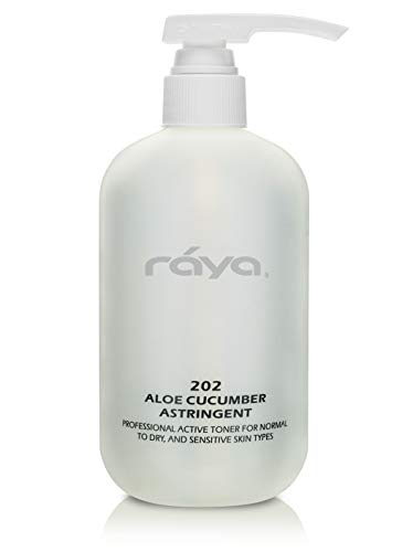 RAYA Aloe Cucumber Astringent 16 oz 202 Gentle Pore Tightening and Smoothing Facial Toner for Dry and Sensitive Skin Helps Refine, Cool, and Sooth Smooths Complexion When Used Before Make-Up