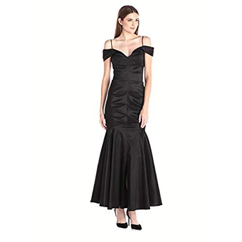 Xscape Women's Long Off The Shoulder Ruched Taffeta Gown, Black, 6