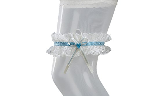 The Stunning Bride Sparkling SWAROVSKI Heart Bridal Wedding Lace Garter - IVORY/BLUE