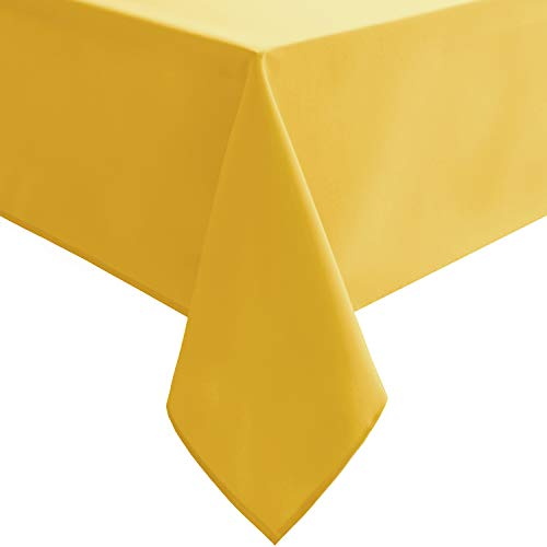 Homedocr Golden Yellow Tablecloth - Washable, Stain Resistant and Waterproof Fabric Table Cloth Rectangle for 6 ft Tables, 54 x 80 inch