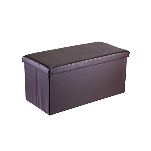 Lumsing Storage Ottoman Bench, Faux Leather Rectangular Folding Hidden Bench Foot Rest Stool (Brown) ()