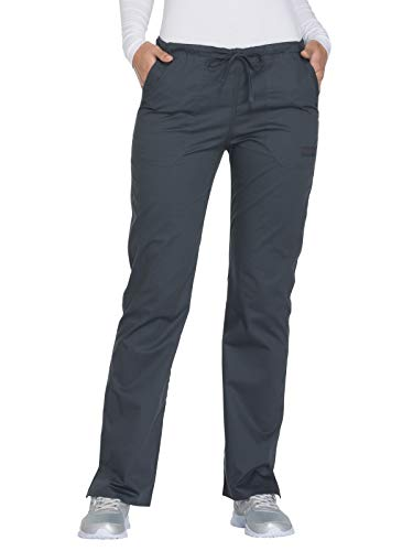 Cherokee Workwear Core Stretch WW130 Mid Rise Drawstring Pant Pewter L Petite