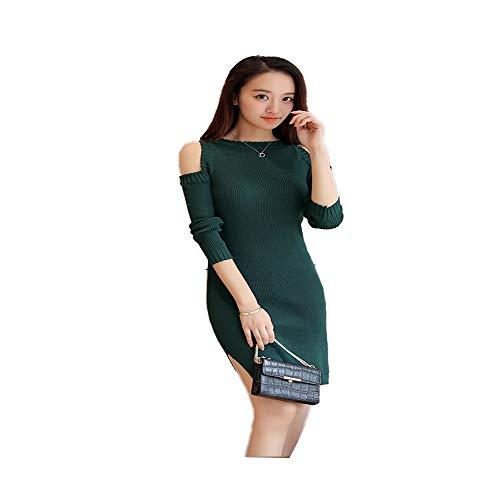 Dress Pull Glamour Manches Longues Vert Confortable À Dénudées Jupe Asymétrique Sexy Épaules Foncé Robe Shirloy Knit 5SAR3q4cjL