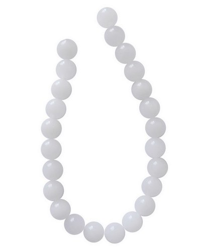 Tennessee Crafts 1419 Semi Precious White Agate Round 8mm Beads, 24-Piece