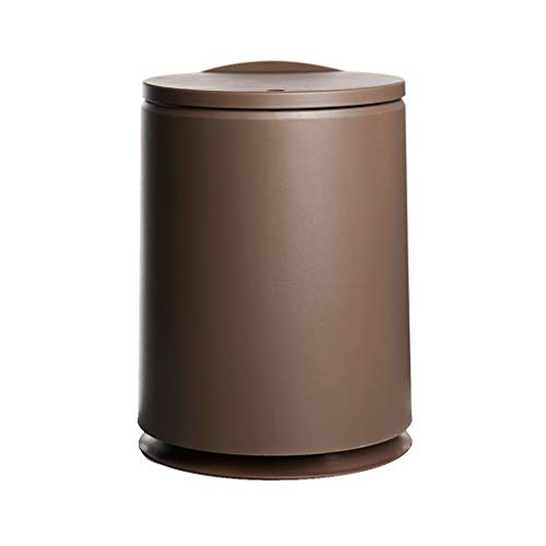 Fashion Modern One-Button Trash Can Home Living Room Kitchen Bedroom with Lid Trash Can (Color : Brown) ()