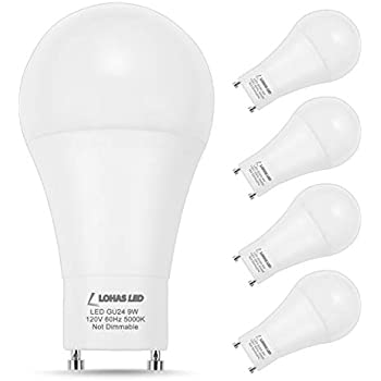 4 Pack Led Gu24 A19 Light Bulbs 60 Watt Equivalent 9 5 Watt 2700k