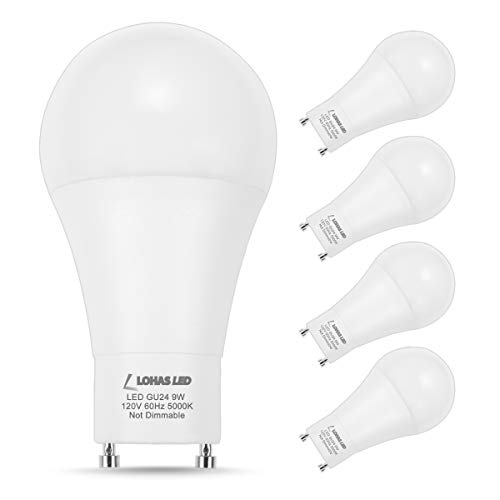 LOHAS GU24 LED Bulb 60Watt Equivalent 9 W LED Daylight Bulbs 5000K GU24 Twist-Base 810LM, A19 Shape for Home Lighting, 240 Degree Beam Angle for Ceiling Lighting, Wall Lights, Non-Dimmable, 4Pack