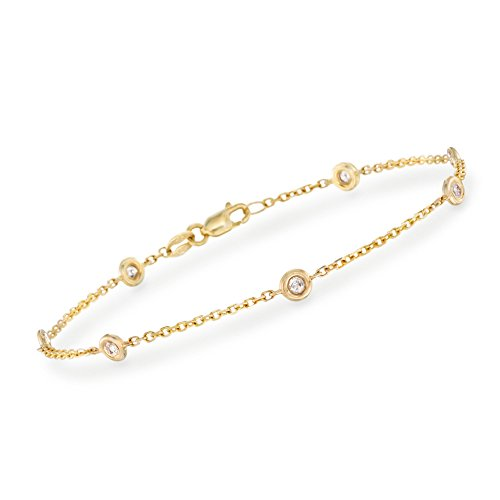 Ross-Simons 0.20 ct. t.w. Bezel-Set Diamond Station Bracelet in 14kt Yellow Gold