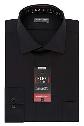 Van Heusen Men's Flex Collar Regular Fit Solid Spread Collar Dress Shirt, Black, 18