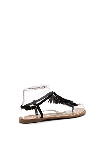 Schuhzoo - Damen Zehentrenner Sandalen mit Pailetten und Fransen Schwarz