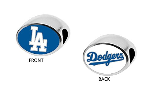 Los Angeles Dodgers 2-Sided Bead Fits Most Bracelet Lines Including Pandora, Chamilia, Troll, Biagi, Zable, Kera, Personality, Reflections, Silverado and More Charm Bead Fits Pandora Style Bracelets